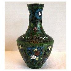 Antique Japanese Cloisonne Vase with Ginbari, Small, Meiji Era