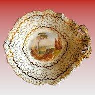 Grainger's Worcester Dessert Dish, Handpainted Landscape, Antique Early 19th C English Porcelain