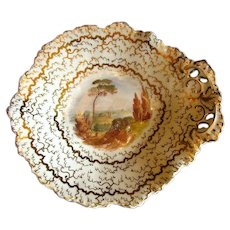 Grainger's Worcester Dessert Dish, Handpainted Landscape, Antique Early 19th C English Porcelain