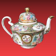 Rose Medallion Teapot,  Large,  Antique 19th C Chinese Export