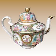 Rose Mandarin Teapot,  Large, Gold in Hair,  Antique 19th C Chinese Export