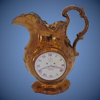 Antique Copper Lustre Jug, Clock Face & Chinoiserie Scene, Early 19th C English or Welsh