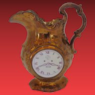 Copper Lustre Jug, Clock Face & Chinoiserie Scene, Antique Early 19th C English or Welsh