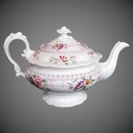 Antique English Teapot, Rare Form, Ridgway Early 19th C