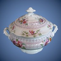 Antique English Covered Sugar, Early 19th C Ridgway