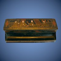 Antique 19th C Double Inkstand, 2 Inkwells, Chinoiserie/Japonaiserie