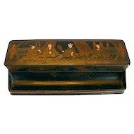 Papier Mache Boxed Double Inkwell, Chinoiserie/Japonaiserie, Antique 19th C