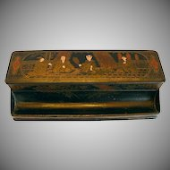 Papier Mache Boxed Double Inkwell, Chinoiserie/Japonaiserie, Antique 19th C