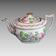 New Hall Teapot, London-Shape, Bone China,  Handpainted Flowers,  Antique 19th C English