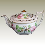 New Hall Teapot, London-Shape, Bone China,  Handpainted Flowers,  Antique 19th C English