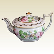 Antique English Teapot, Handpainted Flowers,  Early 19th C New Hall, A/F