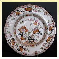 Ashworth Soup Plate, Real Stone China, Floral Chinoiserie, Antique 19th C