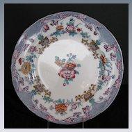 Minton Plate, Floral Transferware, New Stone, Antique 19th C English
