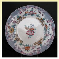 Minton Plate, Floral Transferware, New Stone, Antique 19th C English