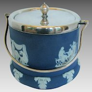 Antique Wedgwood Biscuit Jar, Dark Blue Jasperware, Silver Plated Lid & Bail Handle