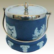 Antique Wedgwood Biscuit Jar, Dark Blue Jasperware, Silver Plated Lid & Bail Handle