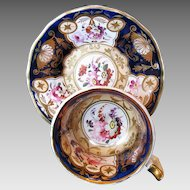 Rare Yates Cup & Saucer, Antique Early 19th C English