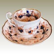 "Samuel Alcock Porcelain Cup & Saucer, ""Melting Snow"", English Imari,  Antique Early 19th C"