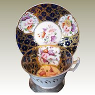John Rose Coalport Cup & Saucer, Blue & Gold, Antique Early 19th C