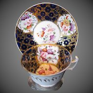 Antique Coalport Cup & Saucer, Hand Painted Flowers, Early 19th C