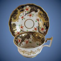 Antique English Imari Cup & Saucer, Ridgway,  Early 19th C Porcelain