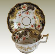 John & William Ridgway Cup & Saucer, English Imari, Antique Early 19th C Porcelain