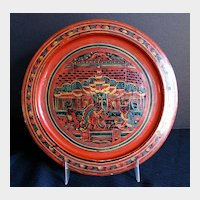 Burmese Lacquer Small Tray, Multicolor Decoration, Vintage,  Yun Decoration