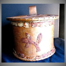 Indian Basket, Birch Bark with Lid,  Applique, Old Native American