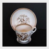 Antique English Cup & Saucer, Pheasants Pattern, 19th C Porcelain