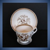 Antique English Cup & Saucer, Pheasants Pattern, 19th C Porcelain