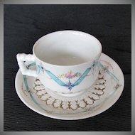 Large Breakfast Cup & Saucer, Bodley, Antique 19th C English Porcelain