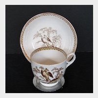 Antique English Cup & Saucer, Pheasants, 19th C