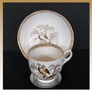 English Cup & Saucer, Ring Handle,Transferware, Pheasants, Antique 19th C