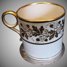 Barr Worcester Coffee Can, Ring Handle, Gilt Acorns, Georgian Era,  Antique Early 19th C