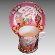 Joseph  Machin Coffee Can & Saucer, Chinoiserie,  Antique Early 19th C English