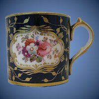 Antique English Coffee Can, Tiny, Richly Decorated, Early 19 C