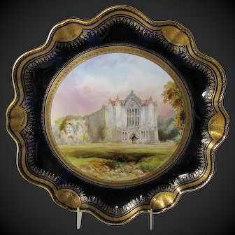 Antique English Cabinet Plate, Bolton Abbey, signed Birbeck, 19th C  Aynsley