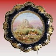 Antique Aynsley Cabinet Plate, Corfe Castle, signed Birbeck, 19th C