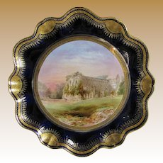 Antique Aynsley Cabinet Plate, Rievaulx Abbey, signed Birbeck, 19th C