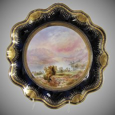 Antique Aynsley Cabinet Plate, Thirlmere, signed Birbeck, 19th C