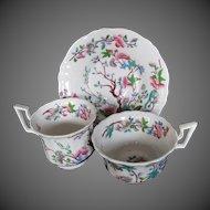 Antique English Chinoiserie Trio: 2 Cups + 1 Saucer, Coalport Early 19th C