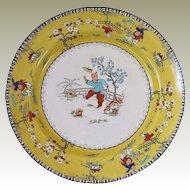 "Rare English Chinoiserie Plate, Children Playing, Canary Yellow, Bishop & Stonier ""Bisto"""