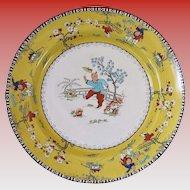 """English Chinoiserie Plate, Chinese Children, Canary Yellow, Bishop & Stonier """"Bisto"""""""