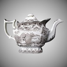 Davenport Teapot, Turkish Archer Pattern, Antique Early 19th C, A/F