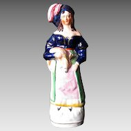 Rare Staffordshire Figure, Woman Holding Deer, Antique 19th C