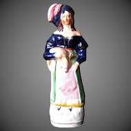 Rare Antique Staffordshire Figure, Woman Holding Deer, 19th C