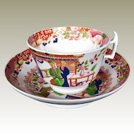 S & J Rathbone Chinoiserie Cup & Saucer, Antique Early 19th C English