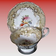Coalport Porcelain Cup & Saucer, Handpainted Flowers, Gilding, Antique Early 19th C English
