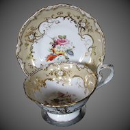 Antique Cup & Saucer, English, Handpainted Flowers, Coalport Early 19th C