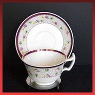 Wedgwood Cup & Saucer, Vintage Pink Lustre, Handpainted, London Handle